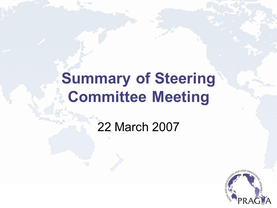 Summary of Steering Committee Meeting 22 March 2007