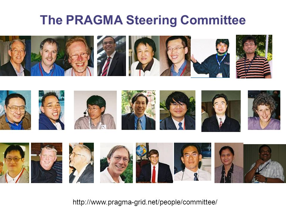 The PRAGMA Steering Committee http://www.pragma-grid.net/people/committee/