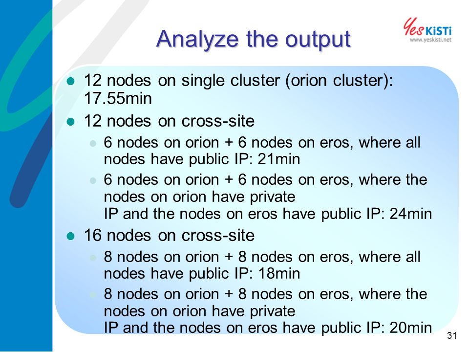 31 Analyze the output 12 nodes on single cluster (orion cluster): 17.55min 12 nodes on cross-site 6 nodes on orion + 6 nodes on eros, where all nodes have public IP: 21min 6 nodes on orion + 6 nodes on eros, where the nodes on orion have private IP and the nodes on eros have public IP: 24min 16 nodes on cross-site 8 nodes on orion + 8 nodes on eros, where all nodes have public IP: 18min 8 nodes on orion + 8 nodes on eros, where the nodes on orion have private IP and the nodes on eros have public IP: 20min