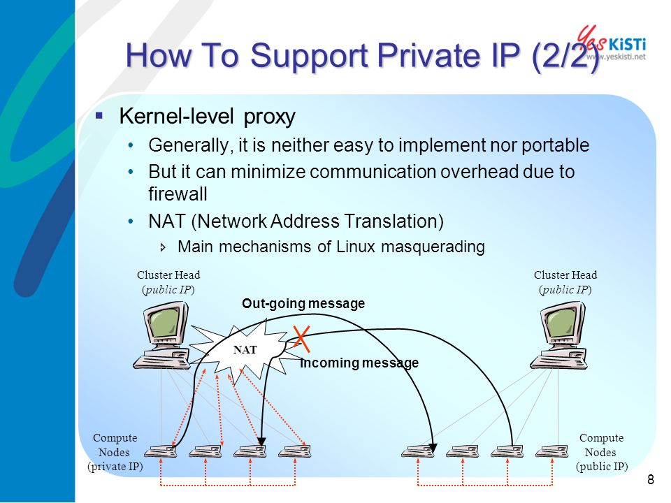 8 How To Support Private IP (2/2) Kernel-level proxy Generally, it is neither easy to implement nor portable But it can minimize communication overhead due to firewall NAT (Network Address Translation) Main mechanisms of Linux masquerading Cluster Head (public IP) Compute Nodes (private IP) Cluster Head (public IP) Compute Nodes (public IP) NAT Out-going message Incoming message