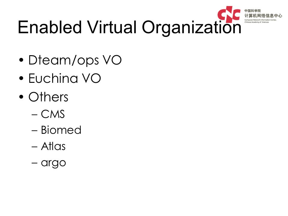 Enabled Virtual Organization Dteam/ops VO Euchina VO Others –CMS –Biomed –Atlas –argo
