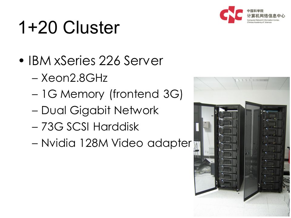 1+20 Cluster IBM xSeries 226 Server –Xeon2.8GHz –1G Memory (frontend 3G) –Dual Gigabit Network –73G SCSI Harddisk –Nvidia 128M Video adapter