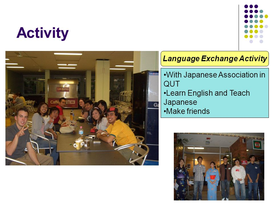Activity Language Exchange Activity With Japanese Association in QUT Learn English and Teach Japanese Make friends