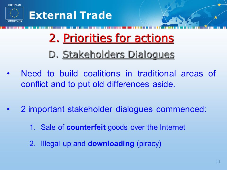 External Trade 11 2.Priorities for actions D.Stakeholders Dialogues Need to build coalitions in traditional areas of conflict and to put old differences aside.