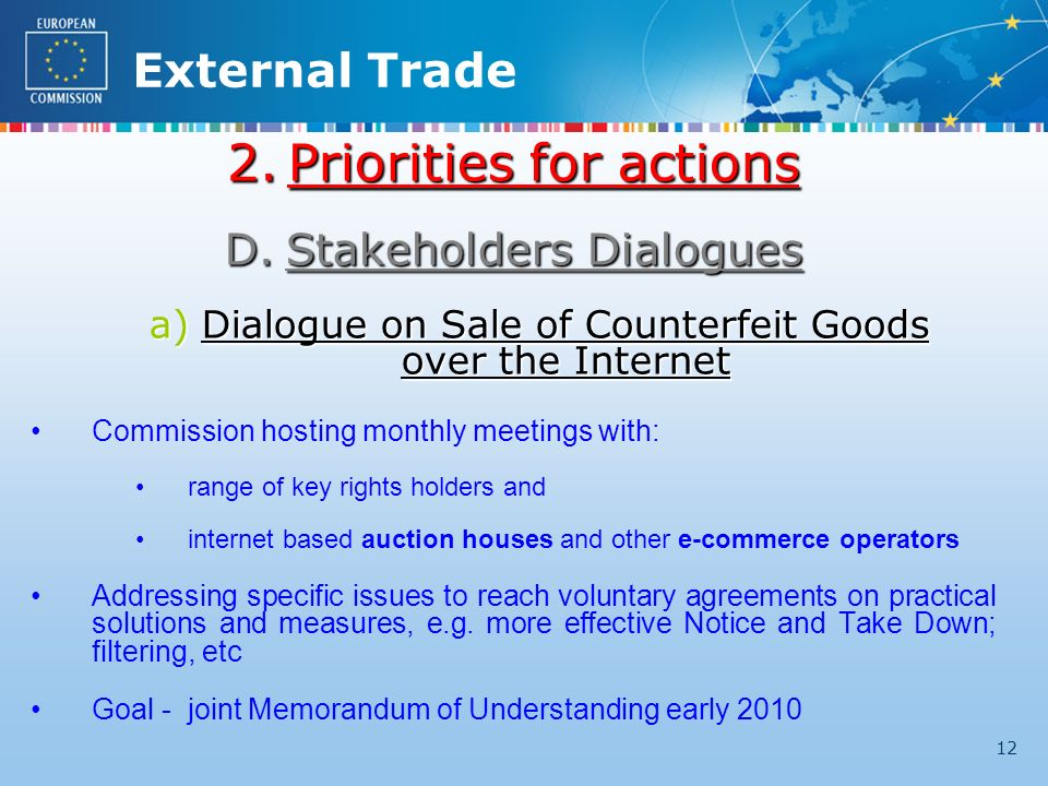 External Trade 12 2.Priorities for actions D.Stakeholders Dialogues a)Dialogue on Sale of Counterfeit Goods over the Internet Commission hosting monthly meetings with: range of key rights holders and internet based auction houses and other e-commerce operators Addressing specific issues to reach voluntary agreements on practical solutions and measures, e.g.