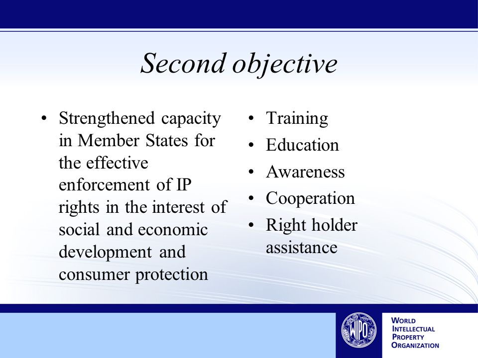 Second objective Strengthened capacity in Member States for the effective enforcement of IP rights in the interest of social and economic development and consumer protection Training Education Awareness Cooperation Right holder assistance
