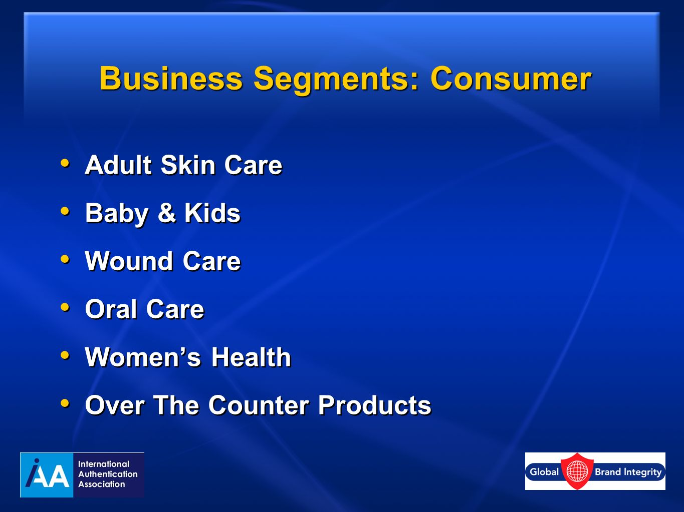 Business Segments: Consumer Adult Skin Care Baby & Kids Wound Care Oral Care Womens Health Over The Counter Products Adult Skin Care Baby & Kids Wound Care Oral Care Womens Health Over The Counter Products