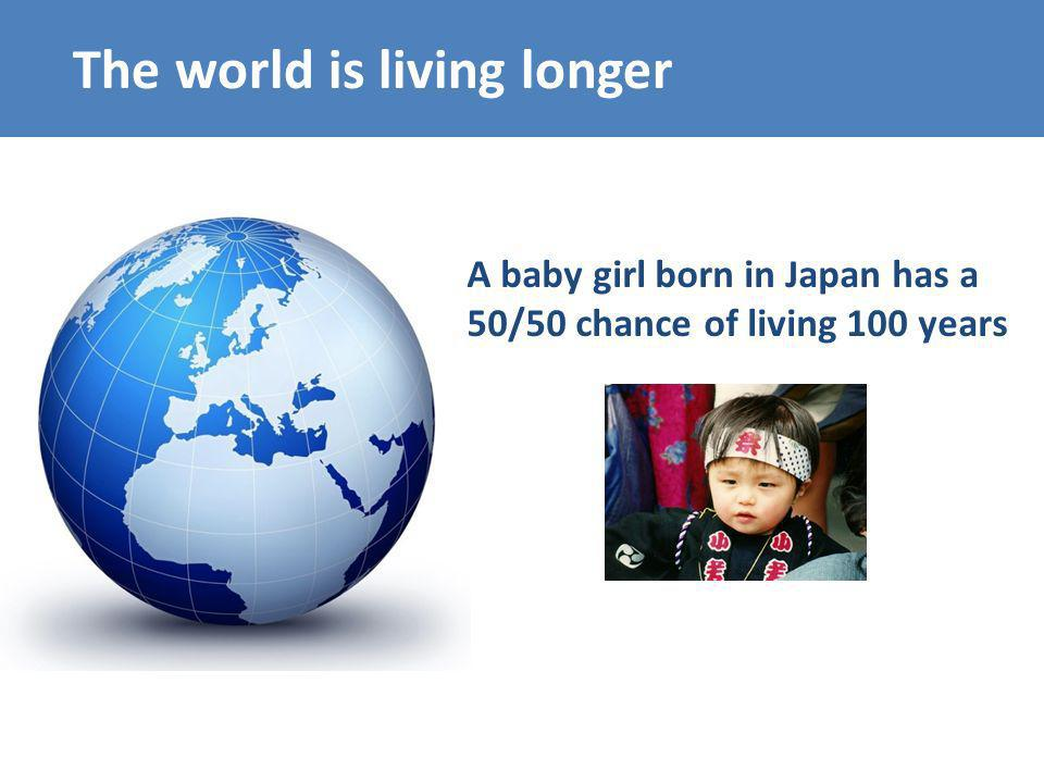 The world is living longer A baby girl born in Japan has a 50/50 chance of living 100 years