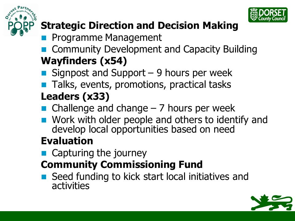 Strategic Direction and Decision Making Programme Management Community Development and Capacity Building Wayfinders (x54) Signpost and Support – 9 hours per week Talks, events, promotions, practical tasks Leaders (x33) Challenge and change – 7 hours per week Work with older people and others to identify and develop local opportunities based on need Evaluation Capturing the journey Community Commissioning Fund Seed funding to kick start local initiatives and activities