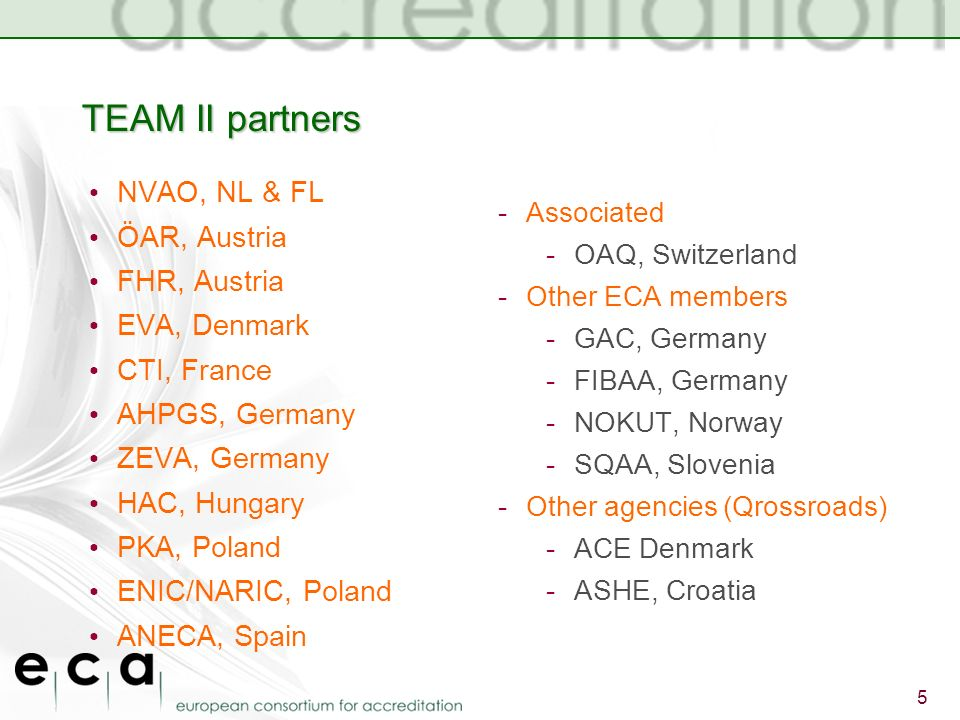 TEAM II partners NVAO, NL & FL ÖAR, Austria FHR, Austria EVA, Denmark CTI, France AHPGS, Germany ZEVA, Germany HAC, Hungary PKA, Poland ENIC/NARIC, Poland ANECA, Spain -Associated -OAQ, Switzerland -Other ECA members -GAC, Germany -FIBAA, Germany -NOKUT, Norway -SQAA, Slovenia -Other agencies (Qrossroads) -ACE Denmark -ASHE, Croatia 5