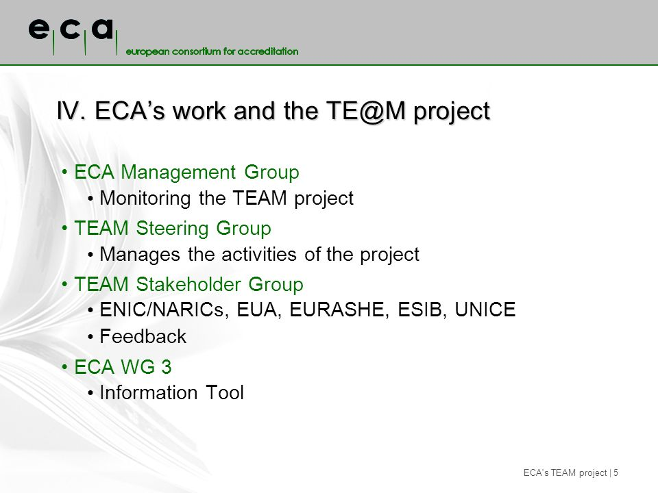 ECA s TEAM project | 5 IV.ECAs work and the TE@M project ECA Management Group Monitoring the TEAM project TEAM Steering Group Manages the activities of the project TEAM Stakeholder Group ENIC/NARICs, EUA, EURASHE, ESIB, UNICE Feedback ECA WG 3 Information Tool