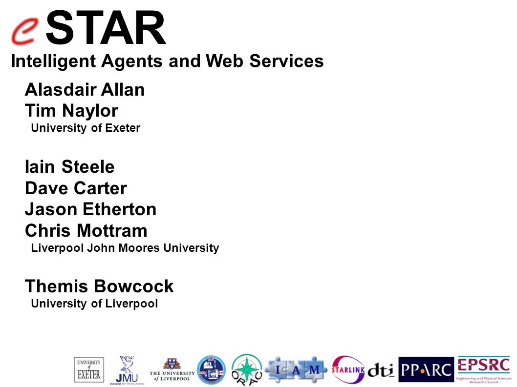 STAR Intelligent Agents and Web Services Alasdair Allan Tim Naylor University of Exeter Iain Steele Dave Carter Jason Etherton Chris Mottram Liverpool John Moores University Themis Bowcock University of Liverpool