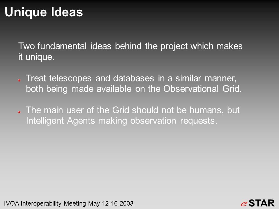 Unique Ideas Two fundamental ideas behind the project which makes it unique.