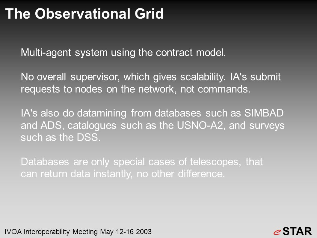 The Observational Grid Multi-agent system using the contract model.
