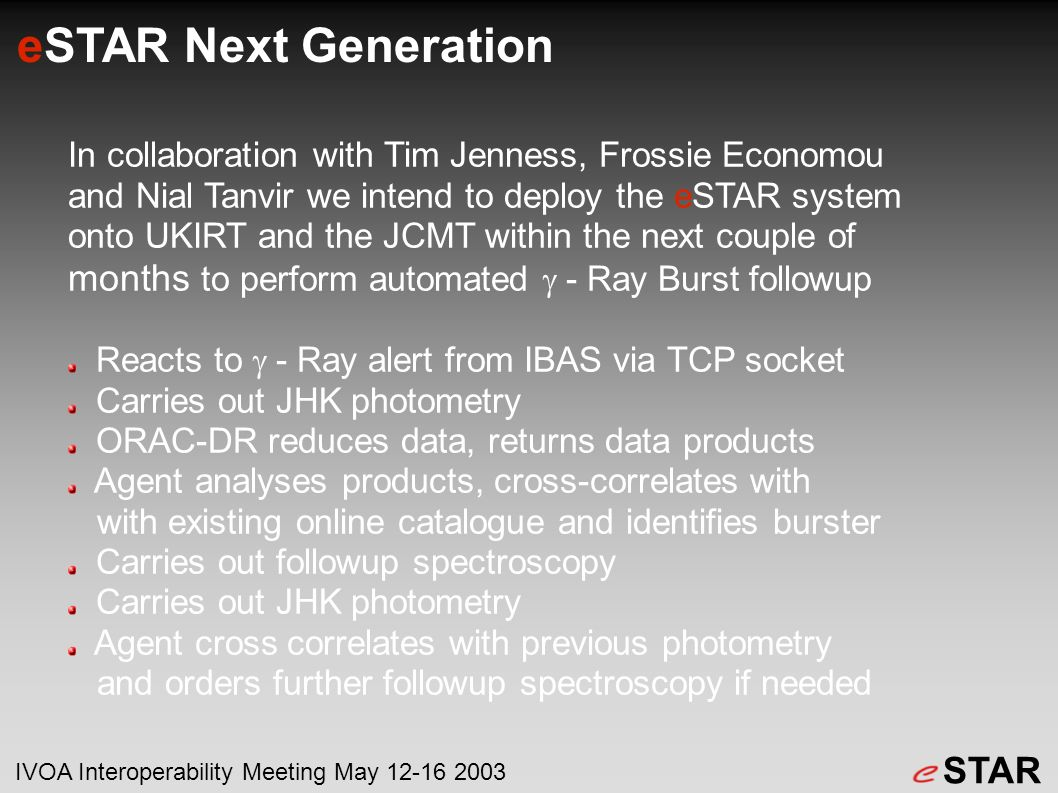 eSTAR Next Generation In collaboration with Tim Jenness, Frossie Economou and Nial Tanvir we intend to deploy the eSTAR system onto UKIRT and the JCMT within the next couple of months to perform automated - Ray Burst followup Reacts to - Ray alert from IBAS via TCP socket Carries out JHK photometry ORAC-DR reduces data, returns data products Agent analyses products, cross-correlates with with existing online catalogue and identifies burster Carries out followup spectroscopy Carries out JHK photometry Agent cross correlates with previous photometry and orders further followup spectroscopy if needed STAR IVOA Interoperability Meeting May 12-16 2003