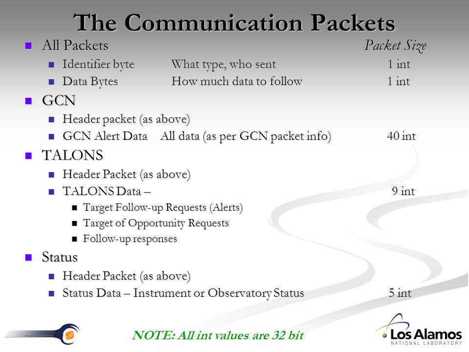 The Communication Packets All Packets Packet Size All Packets Packet Size Identifier byte What type, who sent 1 int Identifier byte What type, who sent 1 int Data Bytes How much data to follow 1 int Data Bytes How much data to follow 1 int GCN GCN Header packet (as above) Header packet (as above) GCN Alert Data All data (as per GCN packet info) 40 int GCN Alert Data All data (as per GCN packet info) 40 int TALONS TALONS Header Packet (as above) Header Packet (as above) TALONS Data – 9 int TALONS Data – 9 int Target Follow-up Requests (Alerts) Target Follow-up Requests (Alerts) Target of Opportunity Requests Target of Opportunity Requests Follow-up responses Follow-up responses Status Status Header Packet (as above) Header Packet (as above) Status Data – Instrument or Observatory Status 5 int Status Data – Instrument or Observatory Status 5 int NOTE: All int values are 32 bit