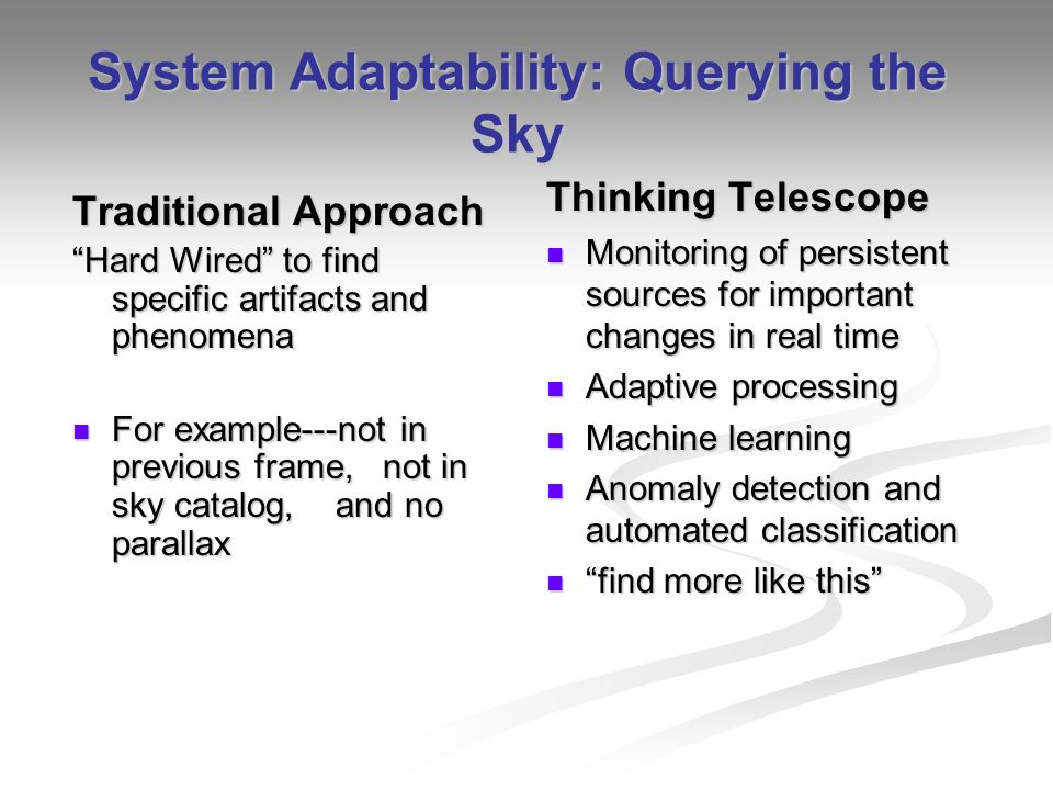 System Adaptability: Querying the Sky Traditional Approach Hard Wired to find specific artifacts and phenomena For example---not in previous frame, not in sky catalog, and no parallax For example---not in previous frame, not in sky catalog, and no parallax Thinking Telescope Monitoring of persistent sources for important changes in real time Adaptive processing Machine learning Anomaly detection and automated classification find more like this