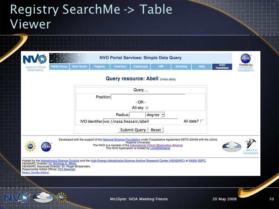 20 May 2008McGlynn: IVOA Meeting-Trieste10 Registry SearchMe -> Table Viewer