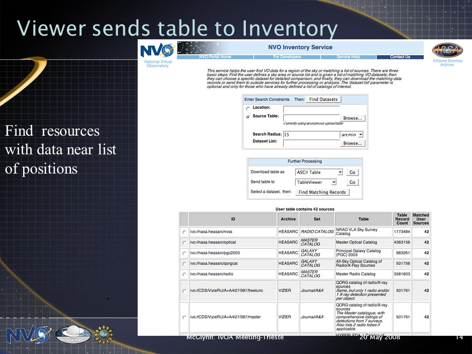 20 May 2008McGlynn: IVOA Meeting-Trieste14 Viewer sends table to Inventory.
