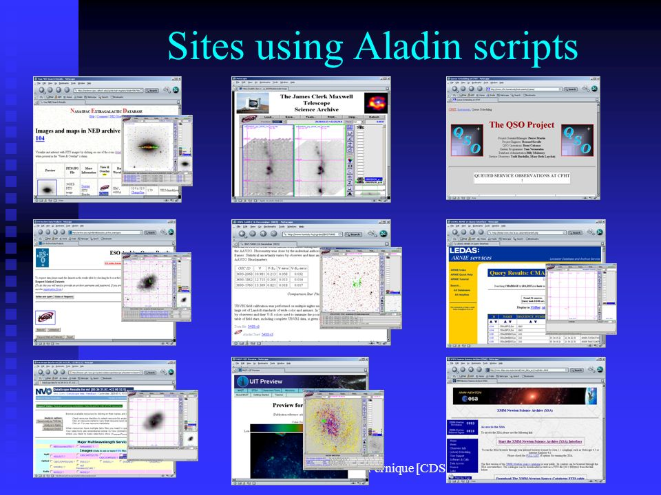 F.Ochsenbein, P. Fernique [CDS] Sites using Aladin scripts