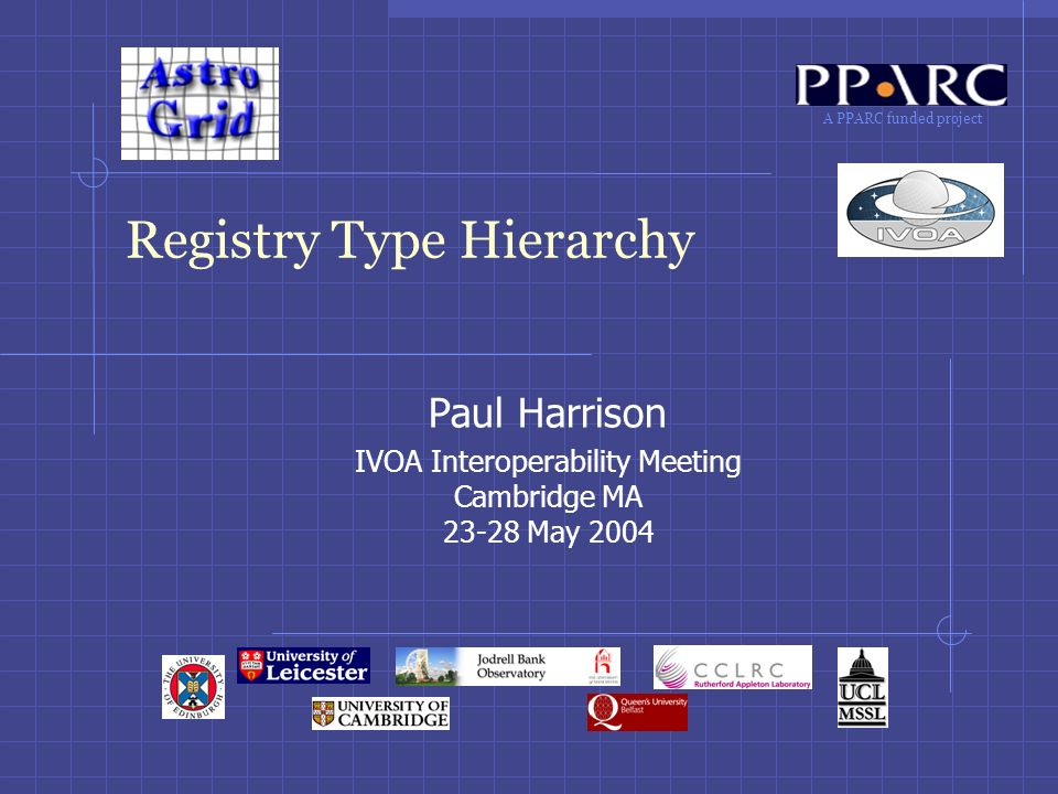 A PPARC funded project Registry Type Hierarchy Paul Harrison IVOA Interoperability Meeting Cambridge MA 23-28 May 2004