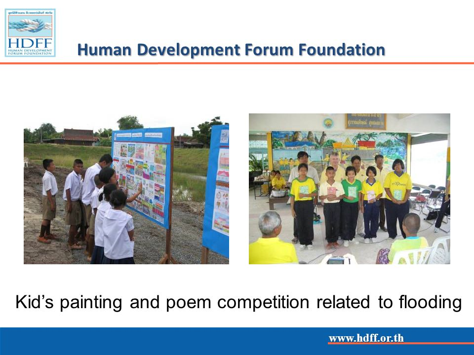 www.hdff.or.th Human Development Forum Foundation Kids painting and poem competition related to flooding