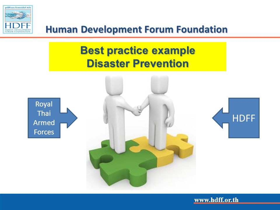 www.hdff.or.th Human Development Forum Foundation Royal Thai Armed Forces HDFF Best practice example Disaster Prevention