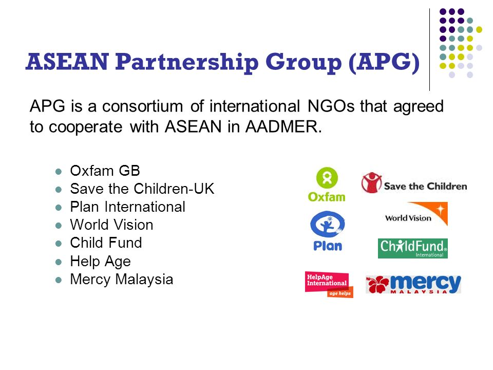 APG is a consortium of international NGOs that agreed to cooperate with ASEAN in AADMER.