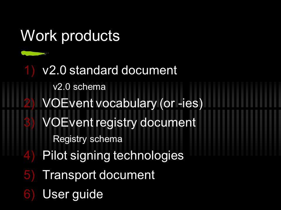 Work products 1)v2.0 standard document v2.0 schema 2)VOEvent vocabulary (or -ies) 3)VOEvent registry document Registry schema 4)Pilot signing technologies 5)Transport document 6)User guide
