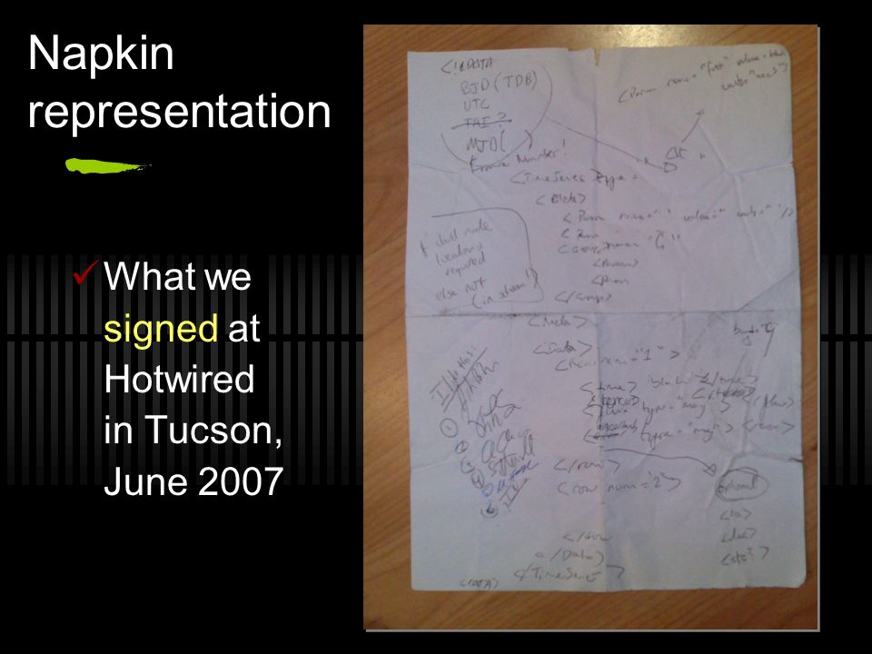 Napkin representation What we signed at Hotwired in Tucson, June 2007