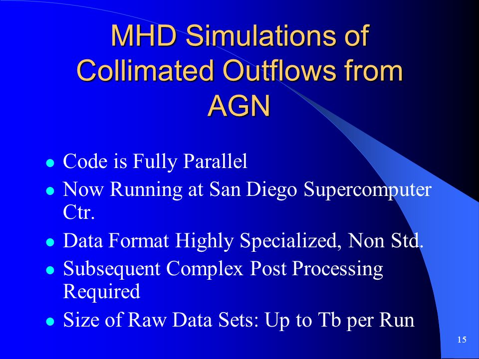 15 MHD Simulations of Collimated Outflows from AGN Code is Fully Parallel Now Running at San Diego Supercomputer Ctr.