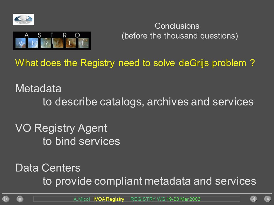 A.Micol IVOA Registry REGISTRY WG 19-20 Mar 2003 Conclusions (before the thousand questions) What does the Registry need to solve deGrijs problem .