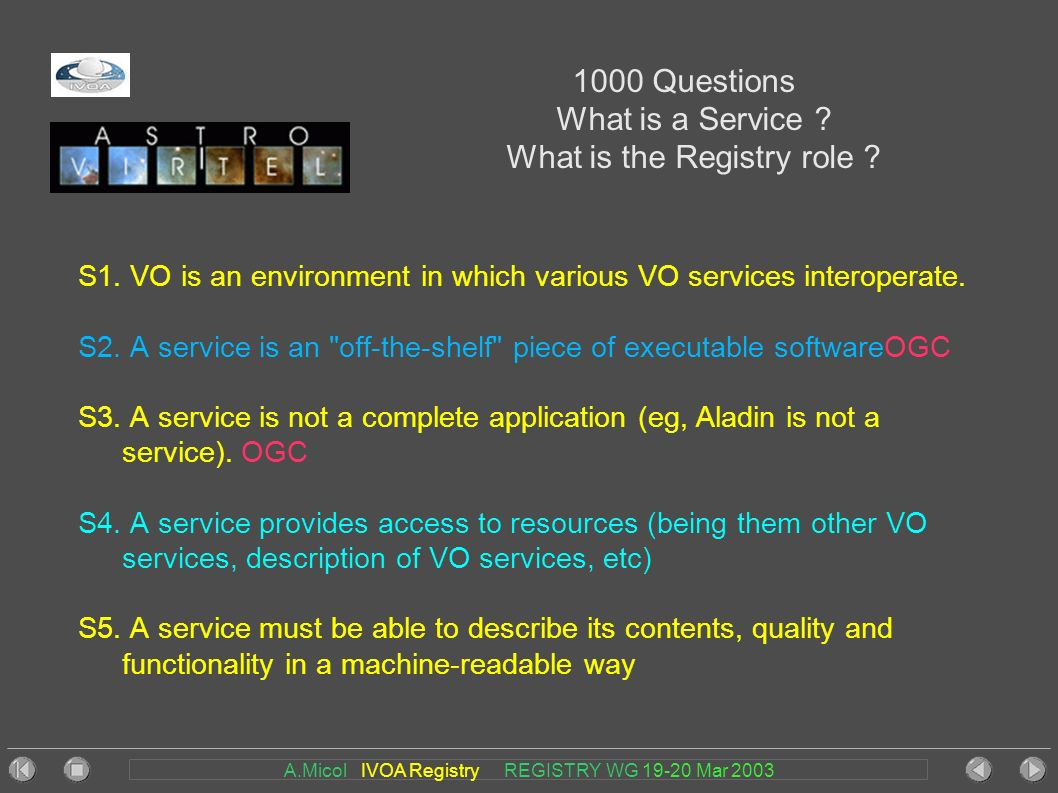 A.Micol IVOA Registry REGISTRY WG 19-20 Mar 2003 1000 Questions What is a Service .