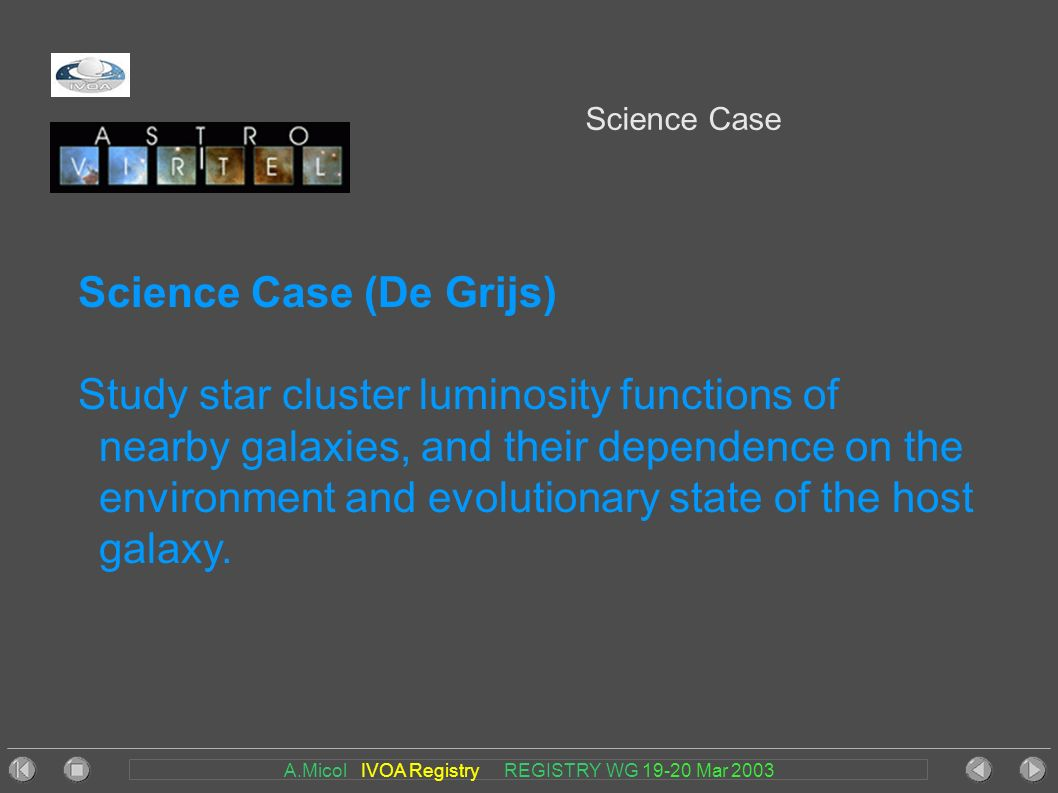 A.Micol IVOA Registry REGISTRY WG 19-20 Mar 2003 Science Case Science Case (De Grijs) Study star cluster luminosity functions of nearby galaxies, and their dependence on the environment and evolutionary state of the host galaxy.
