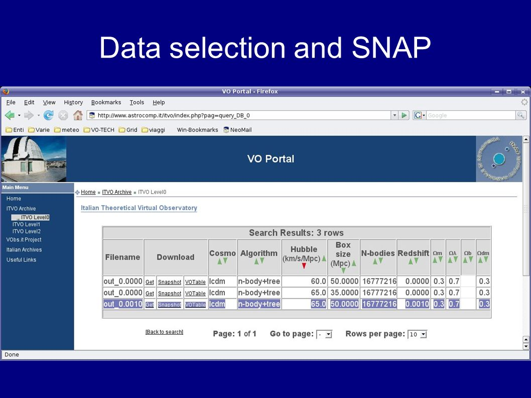 Data selection and SNAP