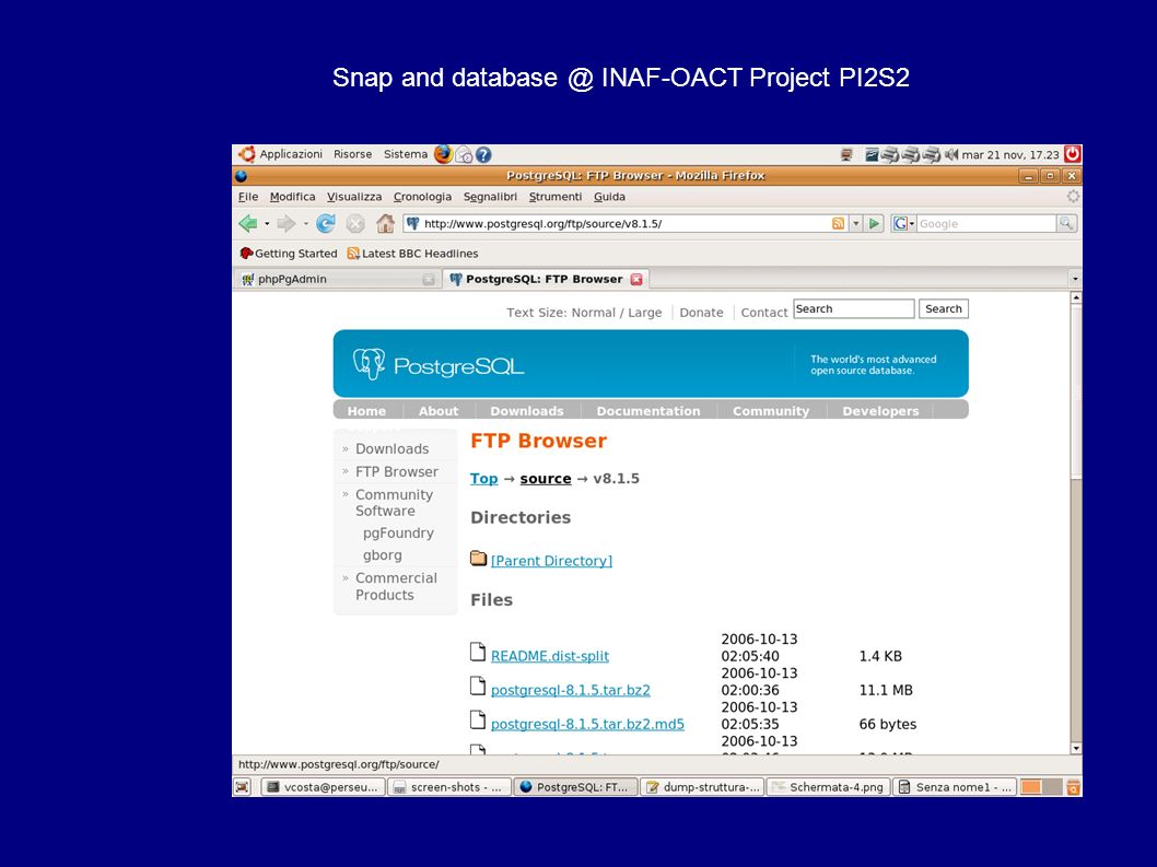 Snap and database @ INAF-OACT Project PI2S2