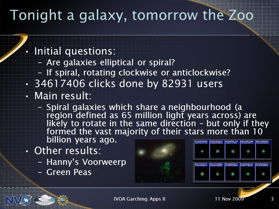 Tonight a galaxy, tomorrow the Zoo Initial questions: –Are galaxies elliptical or spiral.