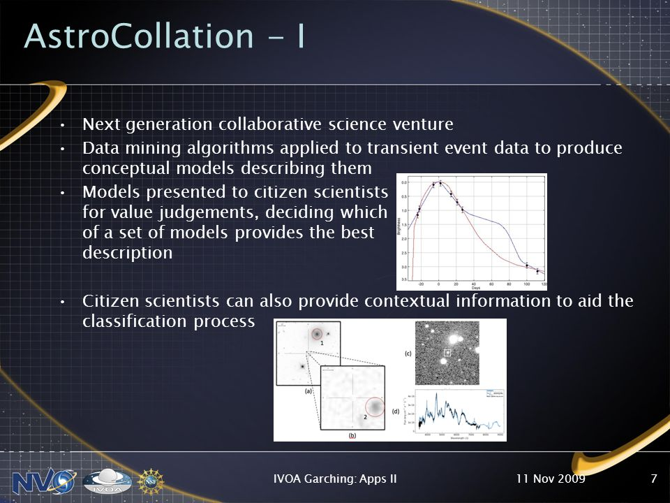 AstroCollation - I Next generation collaborative science venture Data mining algorithms applied to transient event data to produce conceptual models describing them Models presented to citizen scientists for value judgements, deciding which of a set of models provides the best description Citizen scientists can also provide contextual information to aid the classification process 11 Nov 2009IVOA Garching: Apps II7