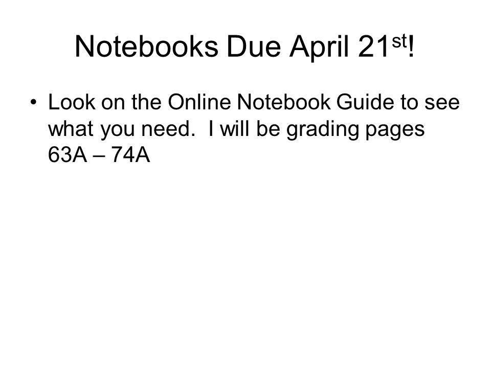 Notebooks Due April 21 st . Look on the Online Notebook Guide to see what you need.
