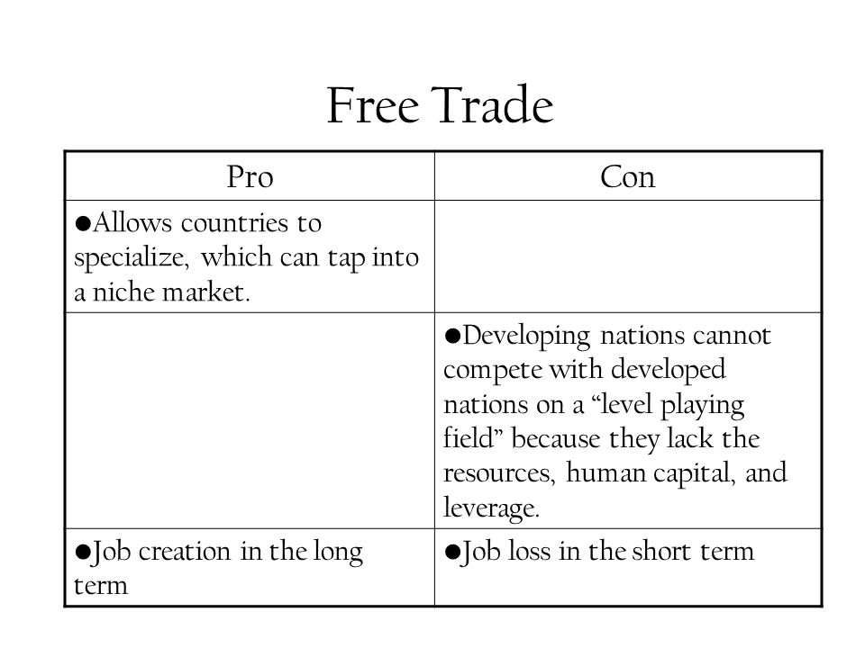 Free Trade ProCon Allows countries to specialize, which can tap into a niche market.