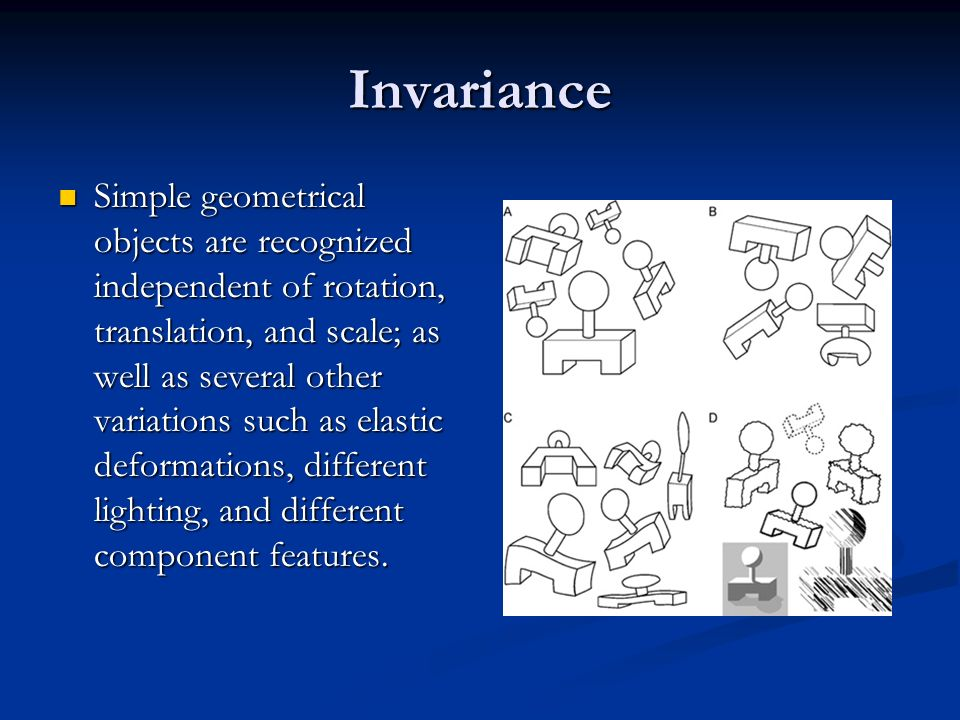 Invariance Simple geometrical objects are recognized independent of rotation, translation, and scale; as well as several other variations such as elastic deformations, different lighting, and different component features.