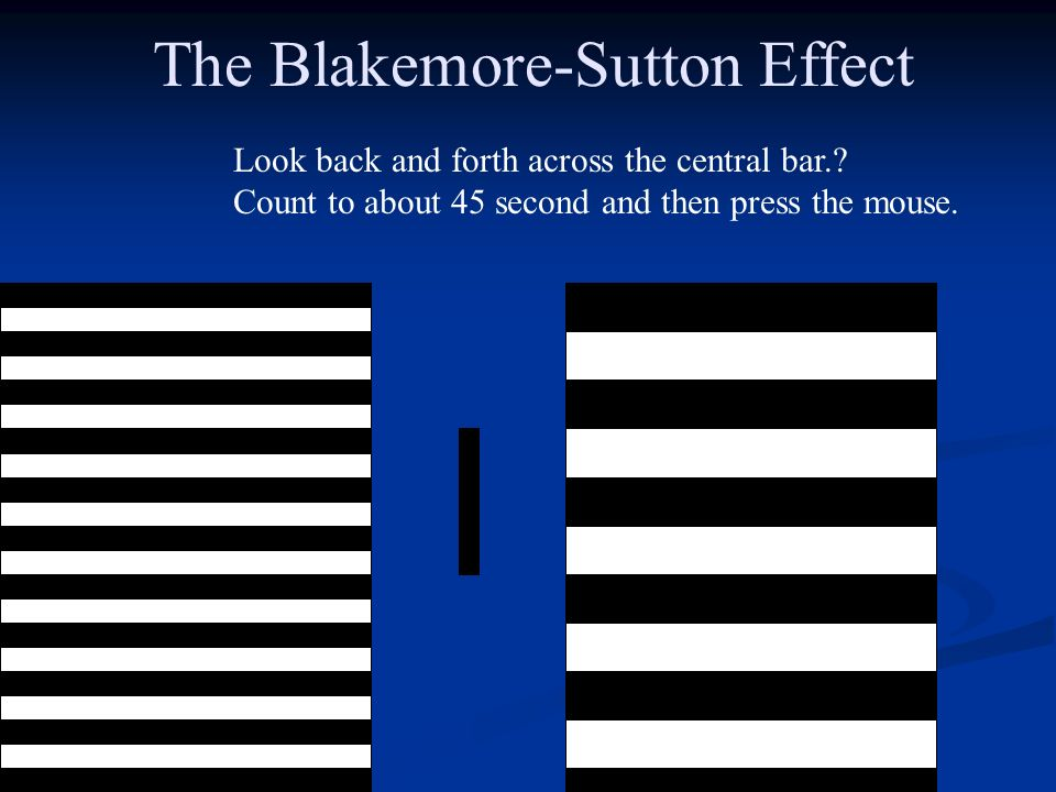 The Blakemore-Sutton Effect Look back and forth across the central bar..