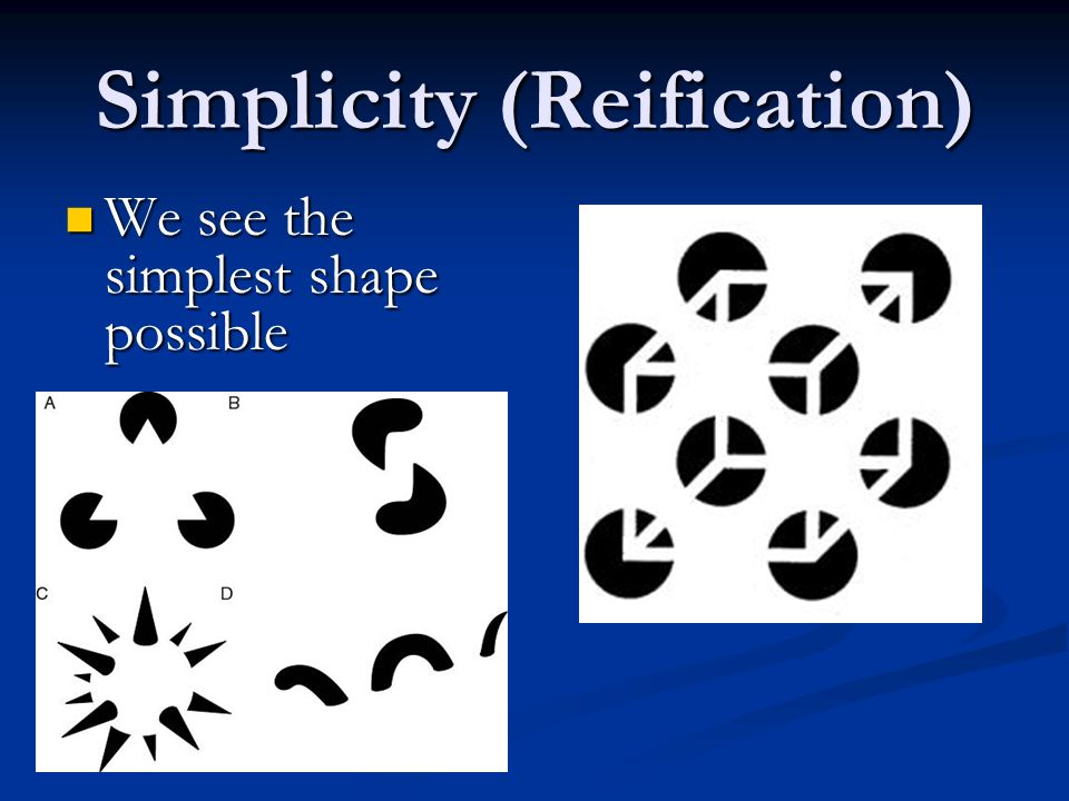 Simplicity (Reification) We see the simplest shape possible We see the simplest shape possible