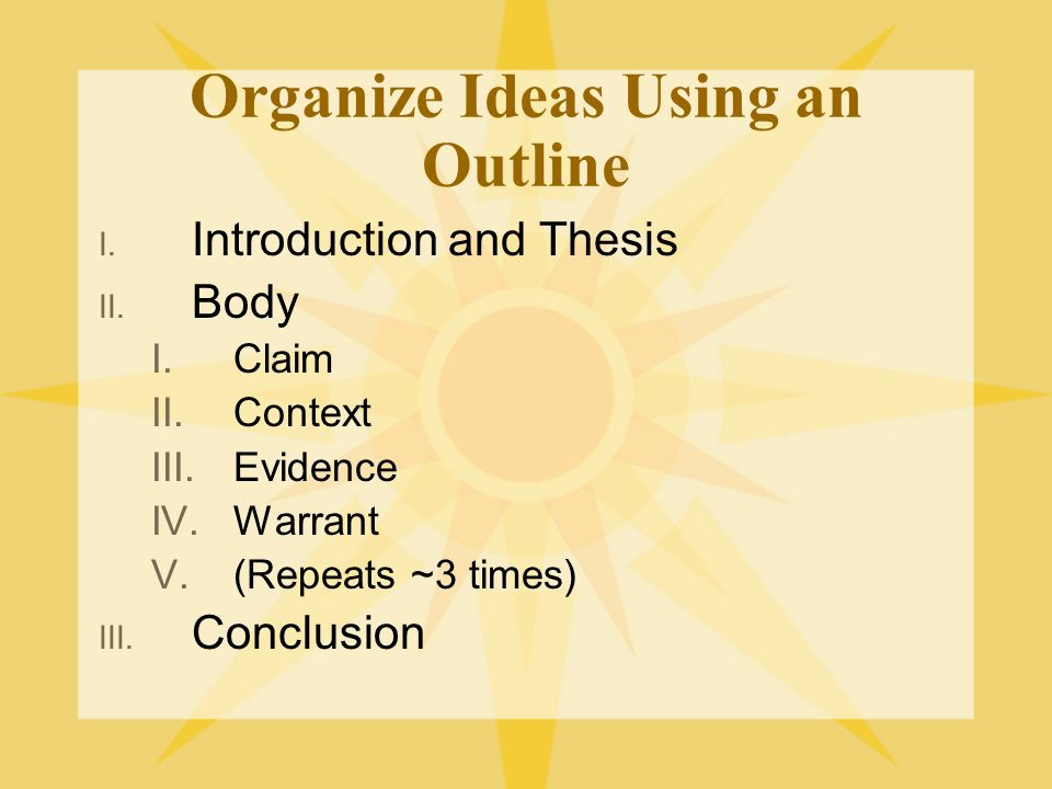 Organize Ideas Using an Outline I. Introduction and Thesis II.