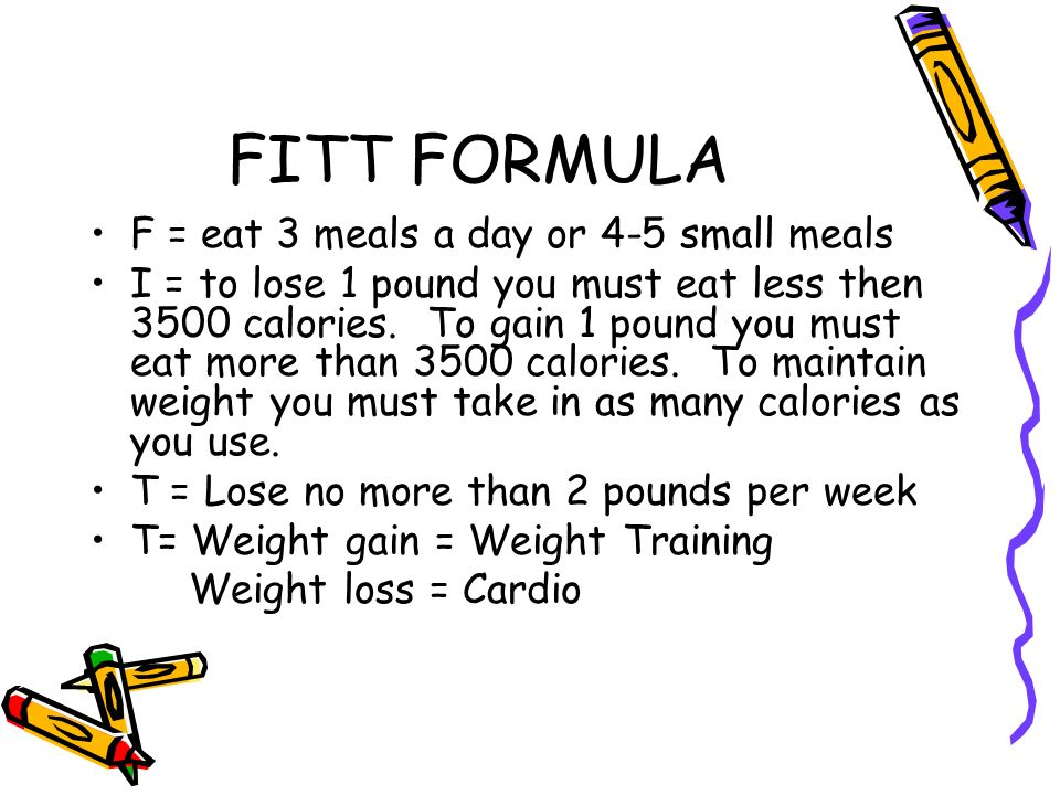 FITT FORMULA F = eat 3 meals a day or 4-5 small meals I = to lose 1 pound you must eat less then 3500 calories.