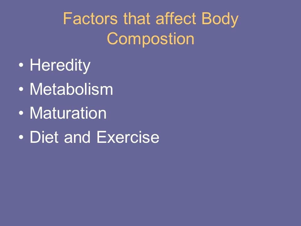 Factors that affect Body Compostion Heredity Metabolism Maturation Diet and Exercise