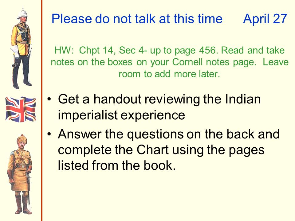 Please do not talk at this timeApril 27 HW: Chpt 14, Sec 4- up to page 456.