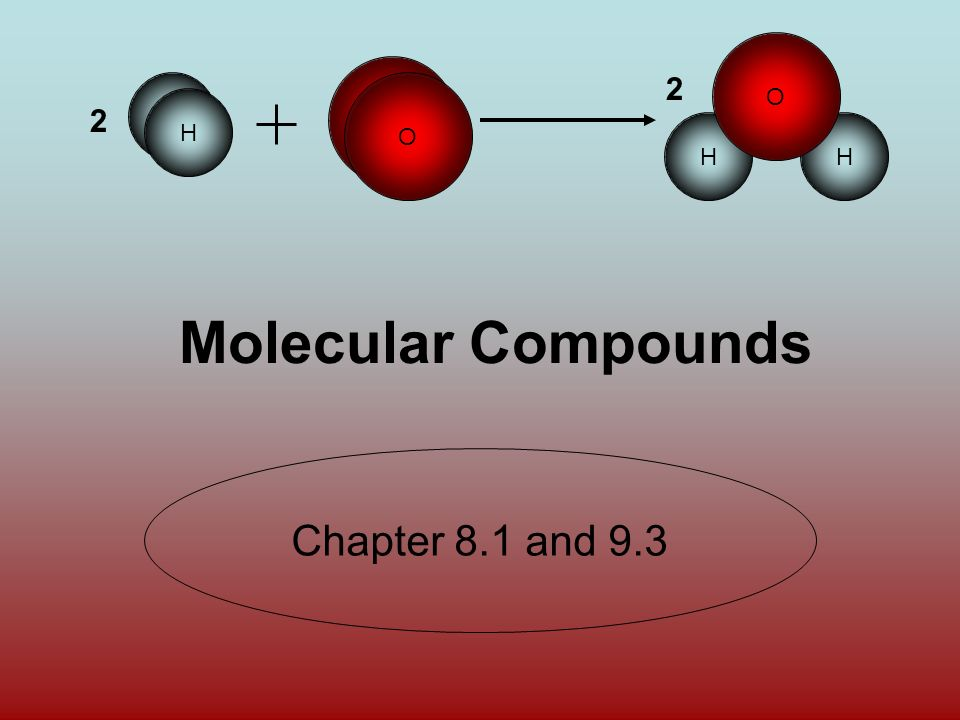 O H HH O 2 2 H O Molecular Compounds Chapter 8.1 and 9.3