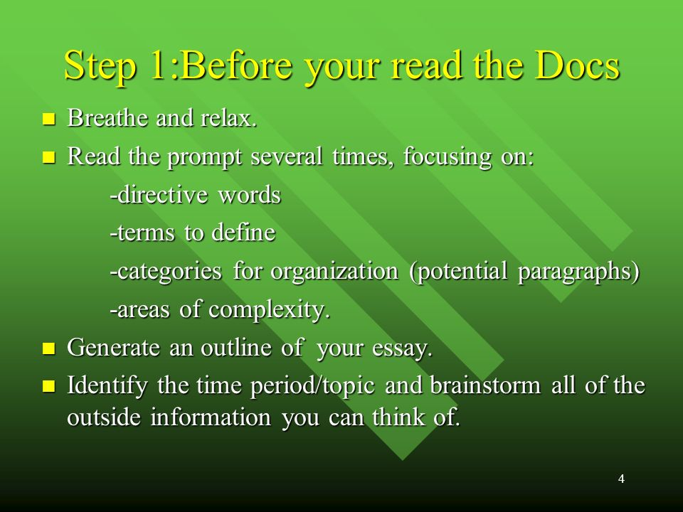 4 Step 1:Before your read the Docs Breathe and relax.