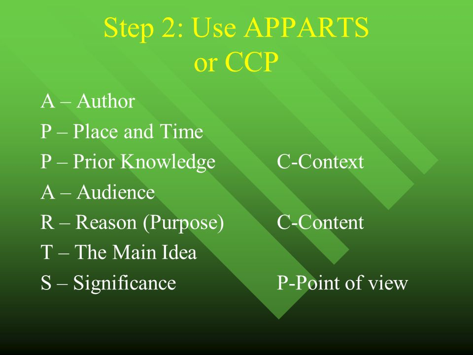 Step 2: Use APPARTS or CCP A – Author P – Place and Time P – Prior KnowledgeC-Context A – Audience R – Reason (Purpose)C-Content T – The Main Idea S – Significance P-Point of view